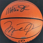 90s Finest: Michael Jordan & Magic Johnson Dual Signed Leather NBA Basketball (Upper Deck & PSA/DNA)