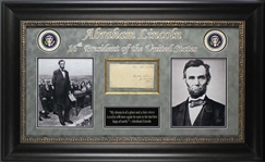 Abraham Lincoln Rare Signed Free Frank in Custom Framed Display (BAS/Beckett)