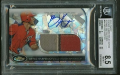 Bryce Harper Signed 2012 Finest Jumbo Relic Rookie Card BGS 8.5 w/ 9 Auto!