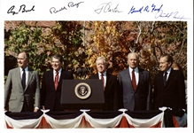"The Five Presidents Ultra-Rare Signed 13"" x 9"" Large Format Photograph w/ Reagan, Nixon, Ford, Bush & Carter (PSA/DNA)"
