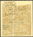 "The Beatles: Group Signed c. 1963 4"" x 5"" Album Page w/ McCartney, Lennon, Starr & Harrison! (Beckett)"