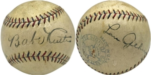 Babe Ruth & Lou Gehrig Signed 1927 OAL Ban Johnson Baseball, One Of The Finest To Surface! (JSA)