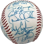 Yankees Dynasty: 1995 Columbus Clippers Rare Team Signed OML Baseball w/ Jeter & Rivera! (PSA/DNA)