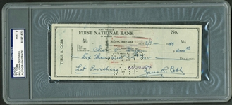 Ty Cobb Signed & Hand Written Bank Check For 6K Purchase! PSA/DNA Graded MINT 9!