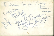 "The Beatles: ULTRA-RARE c. 1961 Signed 3"" x 5"" Photo w/ Pete Best, John Lennon & George Harrison! (PSA/DNA)"