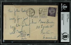 John F. Kennedy Handwritten & Signed 1955 Postcard w/ Racial Content (BAS/Beckett Encapsulated)