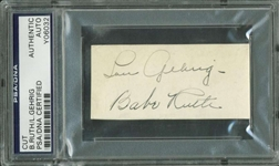 "Babe Ruth & Lou Gehrig Stunning Signed 1.5"" x 3"" Clean Album Page (PSA/DNA Encapsulated)"