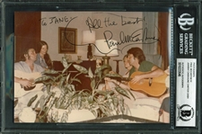 "Paul McCartney, Johnny Cash, & June Carter Cash Rare Signed 5"" x 7"" Candid Photograph (BAS/Beckett Encapsulated)"
