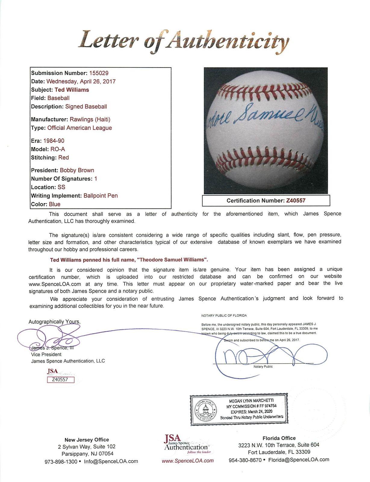 efd42329e6f Ted Williams Signed OAL Baseball w  RARE Full Theodore Samuel Williams  Autograph (JSA)