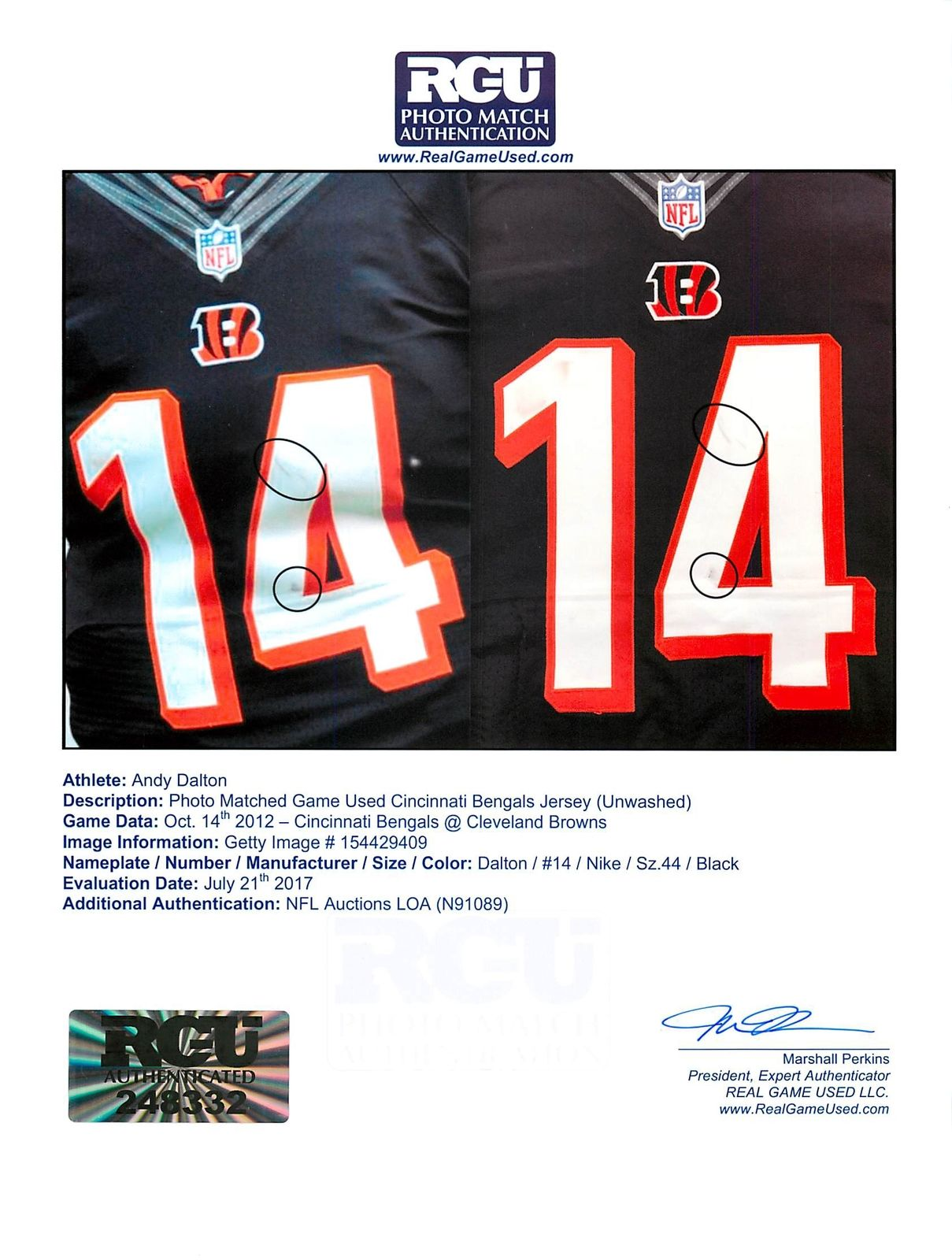 e030dee0a ... good andy dalton game used cincinnati bengals nike jersey from 10 14  2012 vs. 562ad
