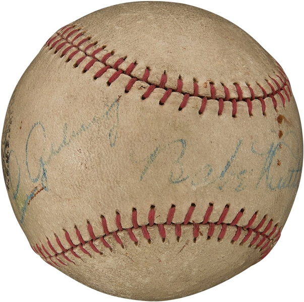 Babe Ruth & Lou Gehrig Stunning Side-by-Side Signed Minor League Baseball (PSA/DNA)