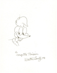 Walter Lantz Signed & Hand Sketched Woody The Woodpecker! (Beckett/BAS Guaranteed)