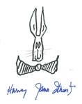 "James Stewart Signed 7"" x 9"" Album Page w/ Harvey Sketch! (JSA Guaranteed)"
