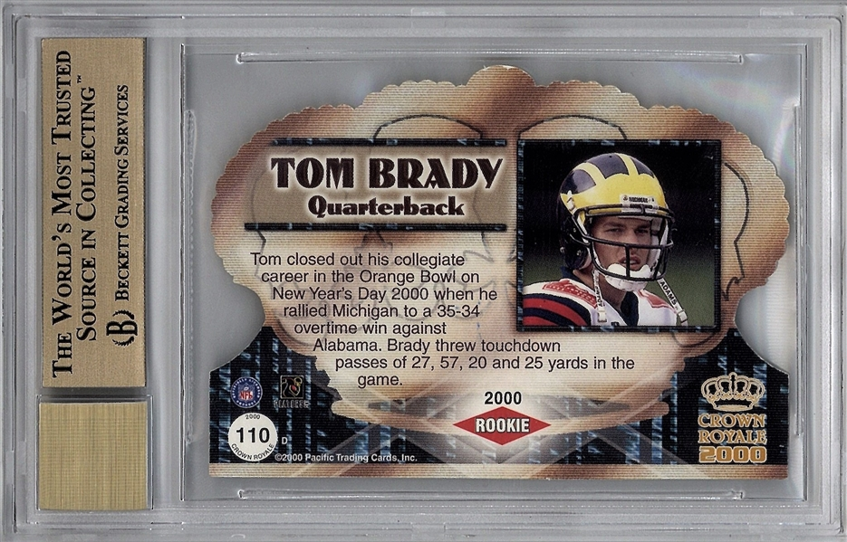 Tom Brady Signed 2000 Crown Royale RC #110 w/ Near Impossible BGS 9.5 10 Auto Grade!