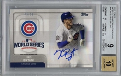 Kris Bryant Signed 2017 Topps World Champion Autographs Card - Beckett Graded 9 w/ 10 Auto