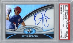 2011 Bowman Platinum Prospects Autographs Refractors Bryce Harper Card - PSA Graded MINT 9!