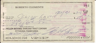 Roberto Clemente Signed & Handwritten 1972 Bank Check Months Prior To His Passing (Beckett/BAS)