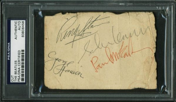 The Beatles: Band Signed 3  x 4.5 Album Page w/ Paul McCartney, John Lennon, George Harrison & Ringo Starr (PSA/DNA Encapsulated)