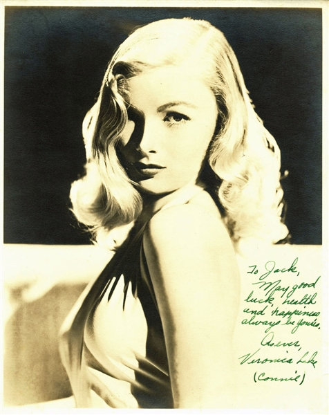 Veronica Lake Signed 8 x 10 Vintage Sepia Photograph with RARE Birth Name Autograph (BAS/Beckett)