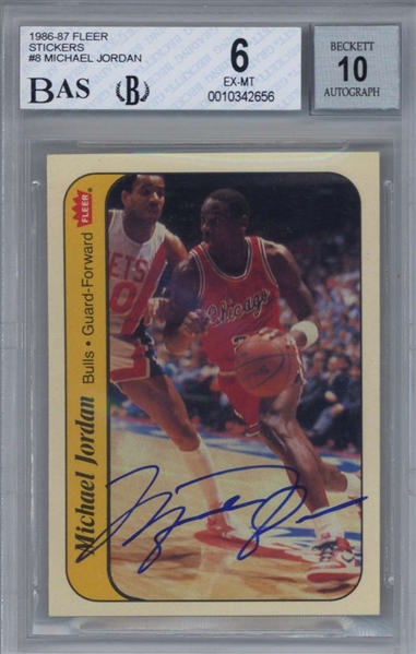 Michael Jordan Signed 1986 Fleer Sticker Card - BGS Graded GEM MINT 10 Autograph!