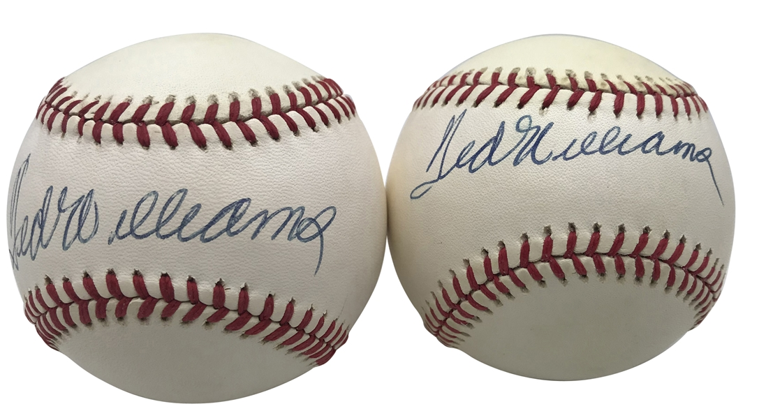 Ted Williams Lot of Two (2) Signed OAL Baseballs (JSA)