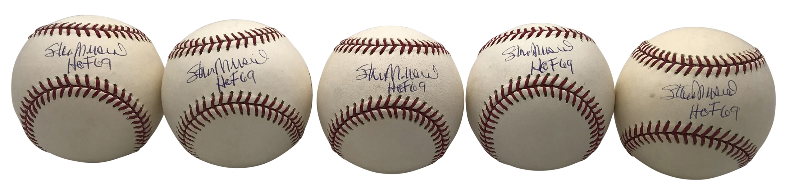 Lot of Five (5) Stan Musial Signed & Inscribed HOF 69 OML Baseballs (Tristar & Beckett/BAS)