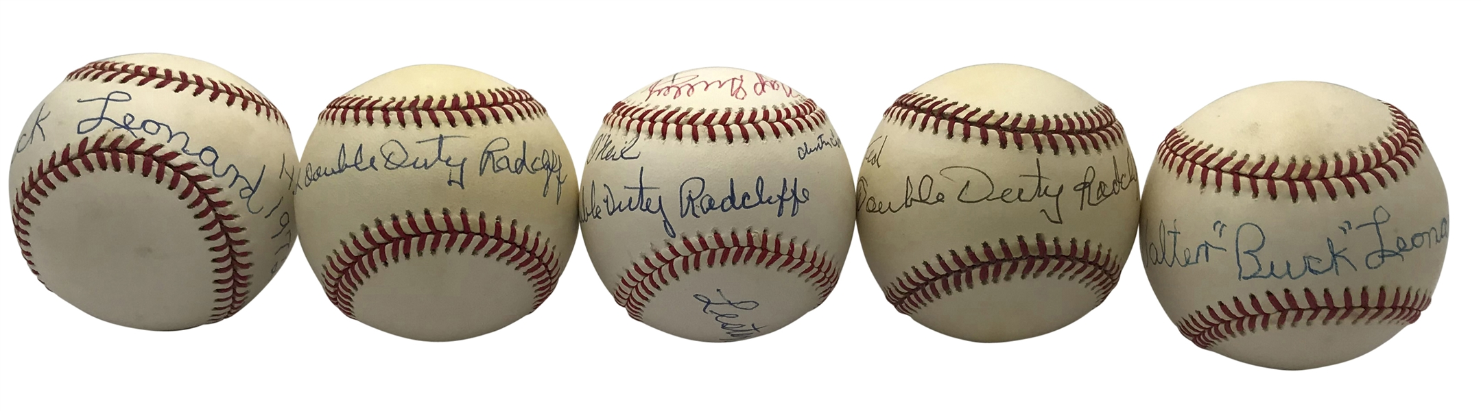Lot of Five (5) Negro League Greats Signed Baseballs w/ Leonard, Radcliffe & Others (Beckett/BAS Guaranteed)