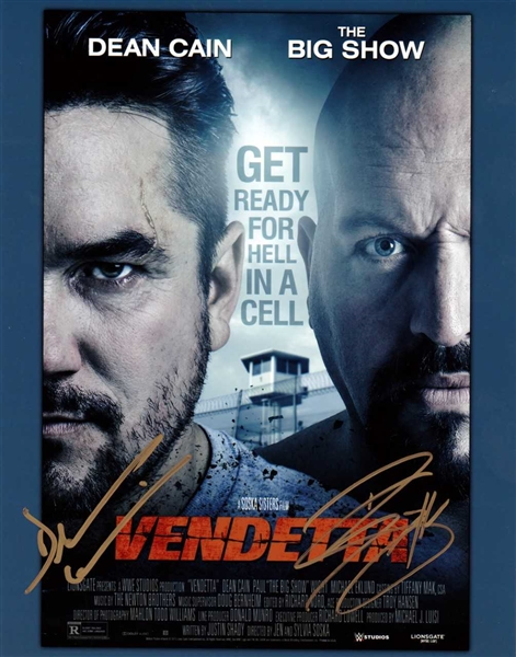 WWE: Dean Cain & The Big Show Dual-Signed Vendetta 8 x 10 Poster Photograph (BAS/Beckett Guaranteed)