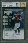 Carson Wentz Signed 2016 Panini Contenders Championship Ticket Rookie Card - BGS 9 w/ 10 Auto!