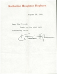 "Katharine Hepburn Signed 6"" x 8"" Thank You Letter (Beckett/BAS Guaranteed)"