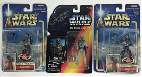 Temuera Morrison & Jeremy Bulloch Signed Lot of Three (3) Fett Action Figures (Beckett/BAS Guaranteed)