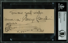 "George Gershwin Signed Album Page with Vividly Illustrated ""Rhapsody in Blue"" Music Quotation (BAS/Beckett Encapsulated)"