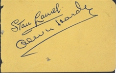 "Stan Laurel & Oliver Hardy Vintage Dual Signed 2"" x 3.5"" Album Page (Beckett/BAS)"