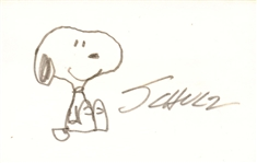 "Charles M. Schulz Signed & Hand Drawn 3"" x 5"" Snoopy Sketch! (Beckett/BAS)"
