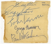 "The Beatles c. 1963 Near-Mint Group Signed 4"" x 5"" Album Page w/ All Four Members! (Beckett/BAS Guaranteed)"