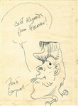 "Fred Gwynne Rare Signed & Sketched The Munsters 7"" x 9"" Album Page (Beckett/BAS Guaranteed)"