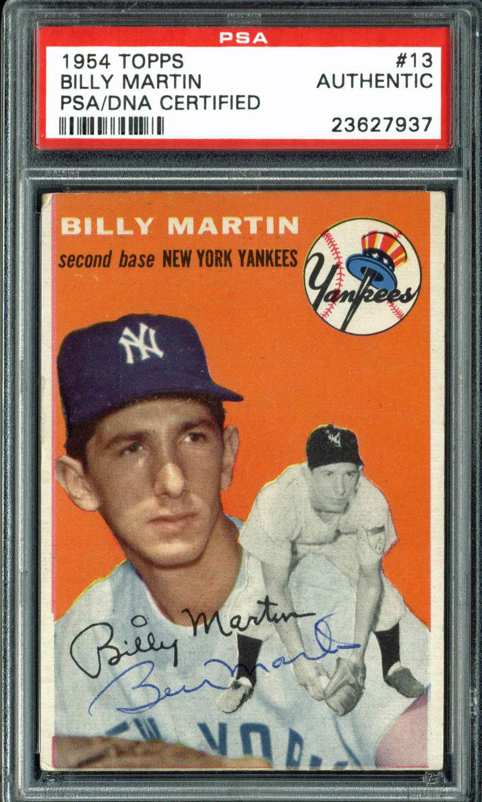 Lot Detail Billy Martin Signed 1954 Topps 13 Baseball