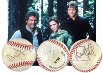 Star Wars: Harrison Ford, Carrie Fisher & Mark Hamill Signed ONL Baseball (Beckett/BAS)