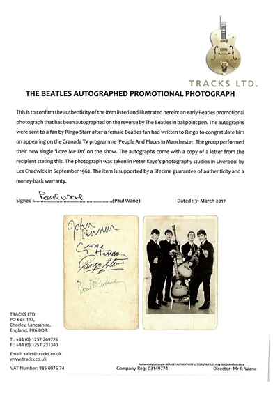 The Beatles: Stunning Group Signed 3.5 x 6 Photograph w/ McCartney, Lennon, Harrison & Starr! (Beckett/BAS Encapsulated)