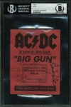 "AC/DC Rare Group Signed ""Big Gun"" Video Shoot Pass w/ 5 Signatures (BAS/Beckett Encapsulated)"