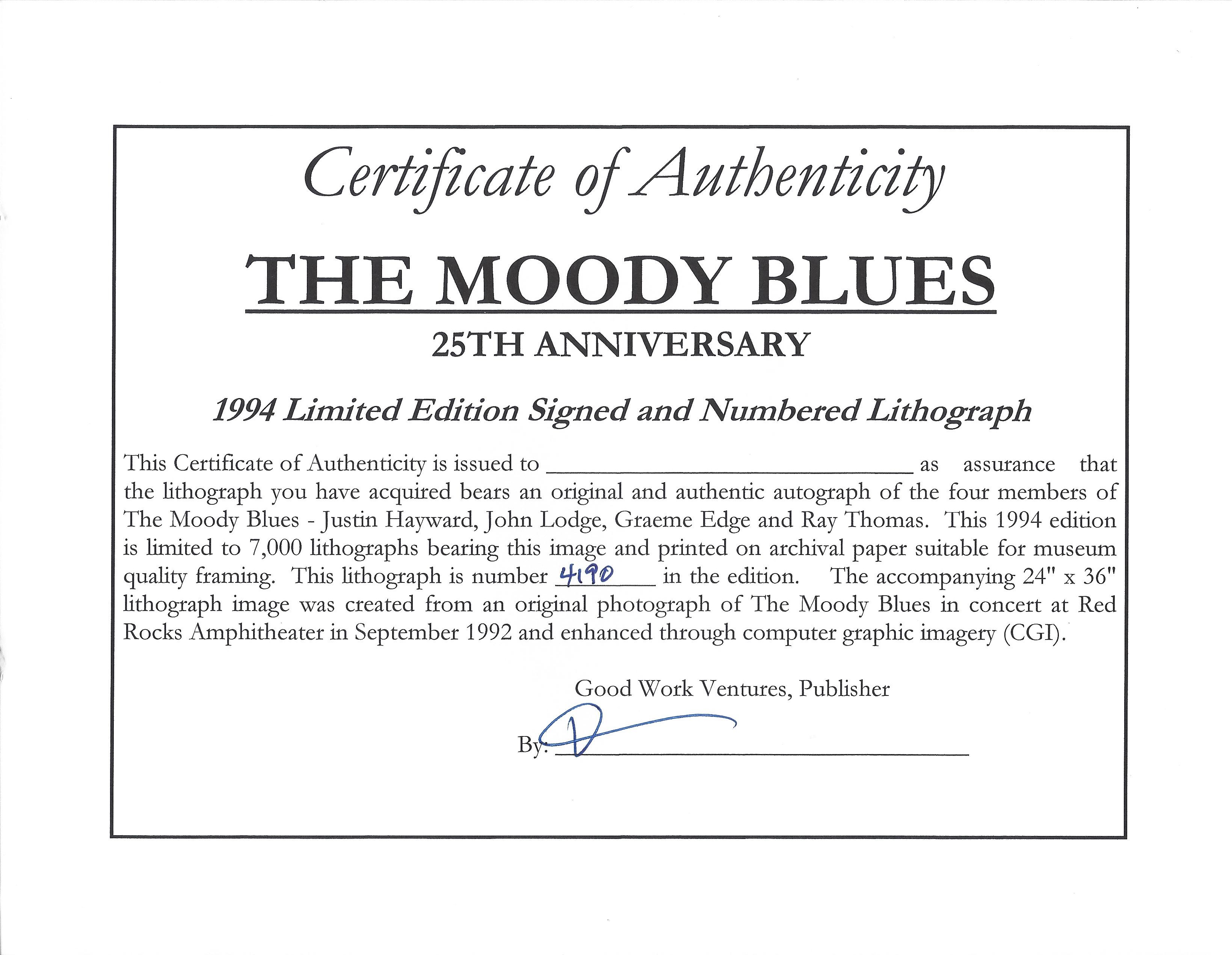 Lot Detail - Moody Blues Band Signed 25th Anniversary Limited