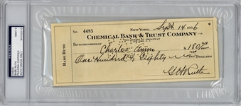 Babe Ruth Signed & Hand Written 1946 Bank Check - PSA/DNA MINT 9!