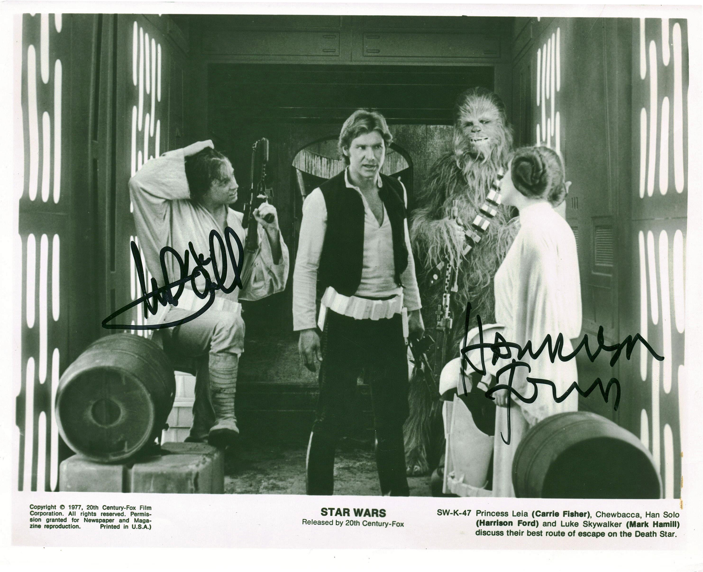 Lot Detail Star Wars Harrison Ford Mark Hamill Vintage Dual Signed 8 X 10 Photograph Beckett Bas Guaranteed