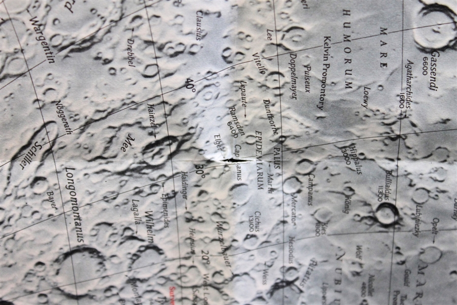 Apollo 11: Neil Armstrong Signed 1969 National Geographic Map of the Moon (BAS/Beckett)