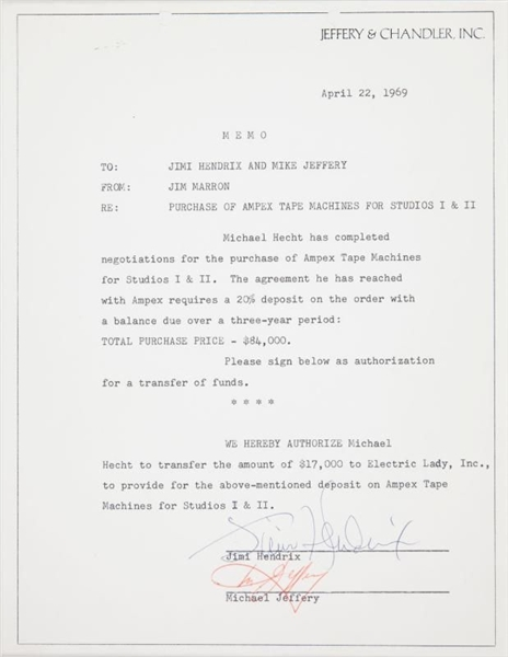 Jimi Hendrix Significant Signed & Framed Document Relating to Electric Lady Studios & Controversial Manager Mike Jeffery (PSA/DNA & Epperson/REAL)