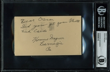 "Honus Wagner Signed 3"" x 5"" 1949 Government Postcard (BAS/Beckett Encapsulated)"
