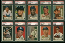 Incredible Near-Complete 1952 Topps Baseball Card Set Graded PSA EX-VG 4-5!