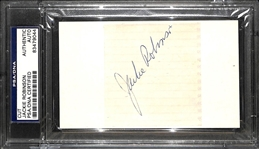 "Jackie Robinson Near-Mint Signed 3"" x 3"" Album Page (PSA/DNA Encapsulated)"
