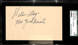 Willie Mays Signed & Inscribed Index Card w/ Rookie Era Signature (SGC & JSA)