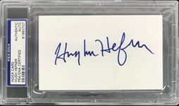"Playboy: Hugh Hefner Superb Signed 3"" x 5"" Card (PSA/DNA Encapsulated)"